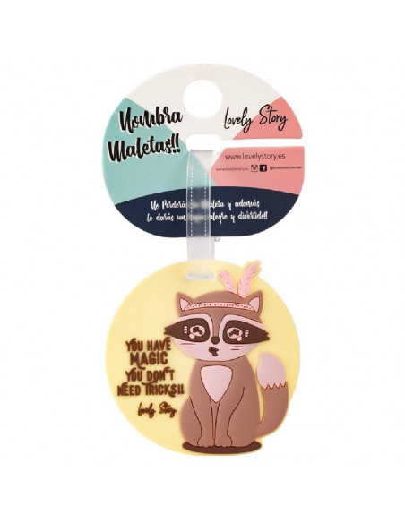 IDENTIFICADOR DE MALETAS DISEÑO MAPACHE CON MENSAJE YOU HAVE MAGIC, YOU DONT NEED TRICKS!!DE LOVELY