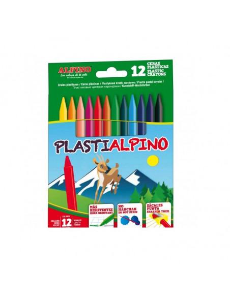 ESTUCHE CON 12 CERAS PLASTICAS ALPINO
