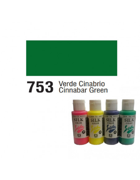 SILK COLOR BASIC COLOR VERDE CINABRIO BOTE DE 60 ML CON TAPON BISAGRA DE LA MARCA VALLEJO