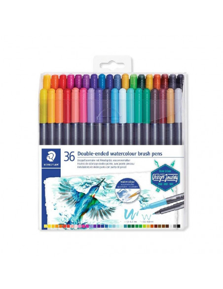 SET 36 ROTULADORES STAEDTLER DOBLE PUNTA ACUARELABLES