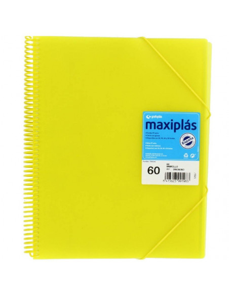 CARPETA MAXIPLAS A4 CON 60 FUNDAS LIKE COLOR AMARILLO