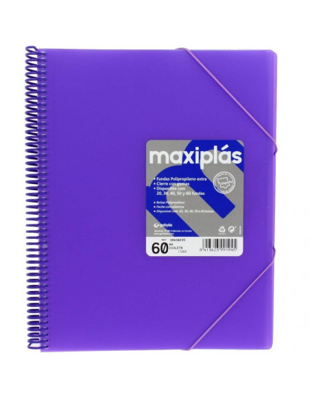 CARPETA MAXIPLAS A4 CON 60 FUNDAS LIKE COLOR VIOLETA
