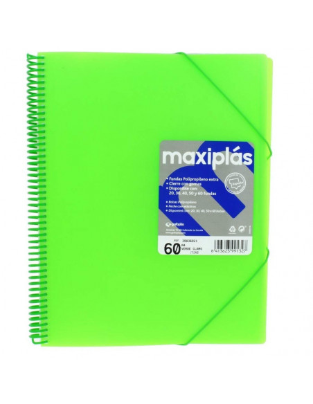 CARPETA MAXIPLAS A4 CON 60 FUNDAS LIKE COLOR VERDE CLARO