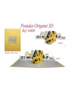 POSTAL 3D ORIGAMI 40 AÑOS