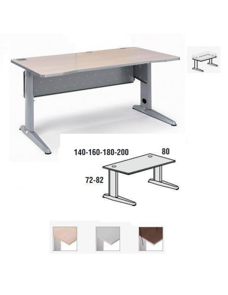 MESA METAL ROCADA 140 X 80 CM. ESTRUCTURA DE ALUMINIO REGULABLE TABLERO COLOR HAYA