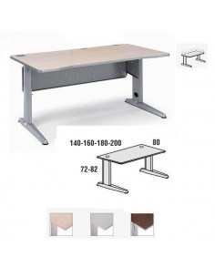 MESA METAL ROCADA 180 X 80 CM. ESTRUCTURA DE ALUMINIO REGULABLE TABLERO COLOR HAYA