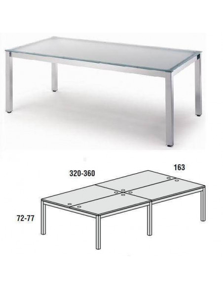 MESA DOBLE EXECUTIVE CROMADA ROCADA 163x360 CM TABLERO EN CRISTAL