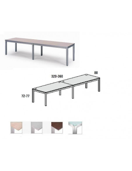 MESA DOBLE EXECUTIVE CROMADA ROCADA 320x80 CM TABLERO EN CRISTAL