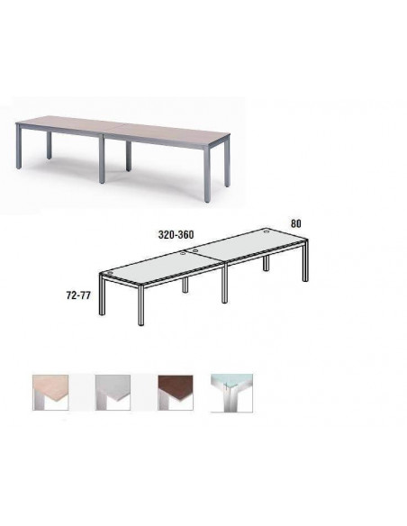 MESA DOBLE EXECUTIVE CROMADA ROCADA 360x80 CM TABLERO EN CRISTAL