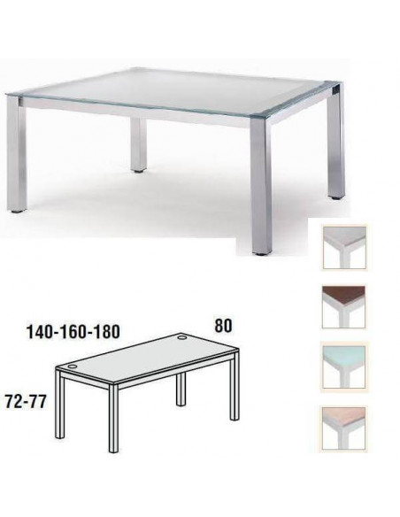 MESA EXECUTIVE ROCADA 140 X 80 CM ESTRUCTURA DE COLOR GRIS Y TABLERO EN CRISTAL