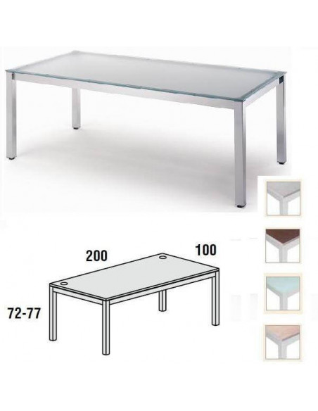 MESA EXECUTIVE ROCADA 200 X 100 CM ESTRUCTURA DE COLOR GRIS Y TABLERO EN CRISTAL