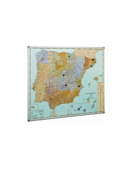 MAPA DE ESPAÑA CON MARCO DE ALUMINIO 103 X 129 CM.