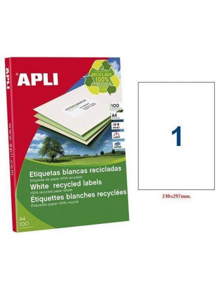 ETIQUETAS BLANCAS RECICLADAS 210X297 MM. PACK 100 HOJAS A4
