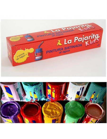 ESTUCHE DE PINTURA SATINADA A BASE DE LATEX 6 COLORES SURTIDOS