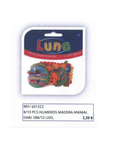 NUMEROS DE MADERA DE ANIMALES BOLSA DE 10 PCS