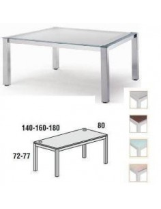 MESA EXECUTIVE ROCADA 180 X 80 CM ESTRUCTURA DE COLOR GRIS Y TABLERO EN CRISTAL